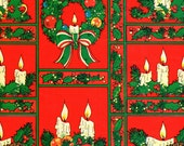 Vintage Christmas Wrapping Paper - Christmas Wreaths & Candles - Holiday Wrapping Paper