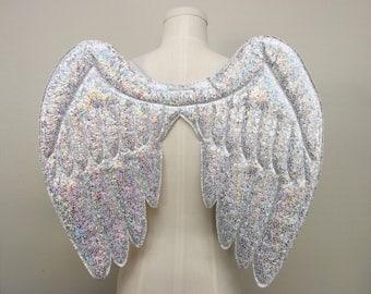 Angel wings, silver and white bird wings, hologram wings, holographic wings,  Halloween costume, pegasus wings, wireless cosplay wings