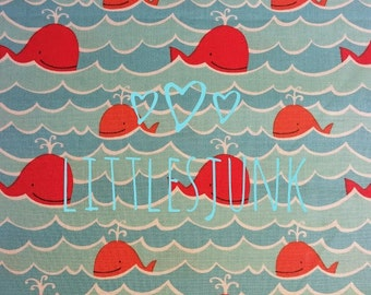 Whales and Waves Print, Fabric, Orange Whales, Aqua Waves,100% Cotton,Quilting,Apparel Fabric,Home Decor,Crafts,Fabric, Ocean Theme, Yardage