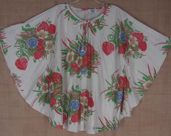 Vintage 80s Pleated Caftan Blouse OS White Green Red Tropical Print Mr Remo