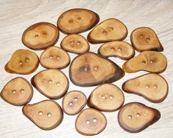 """18 Handmade  wood buttons, accessories (1,0-2,16"""" diameter)"""