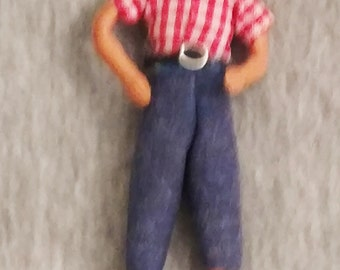 Vintage, Schildkrot, Doll House Man, Three Inches Tall, Half Inch Scale NL