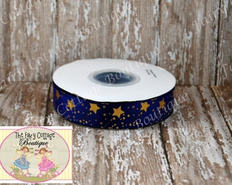 Wizardly Blue Magical Wands 7/8 inch Ribbon
