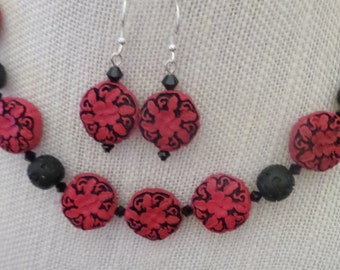 Red Black Cinnabar Swarovski Necklace Earrings Sterling