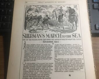 Shermans march to the sea 1864. 1933 book page history print illustration . Art frameable history