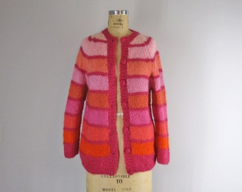 1960s Vintage Mohair Sweater l 1960s Phil Rose Italian Knit Mohair Multicolored Cardigan