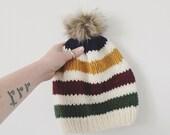 Pom-pom Hat, Hudson Bay Inspired Hat, Striped Knit Hat, Pom-pom Beanie, Knit Women's Hat, Fur Pom-pom Hat, Ski Bunny Hat, Winter Accessories