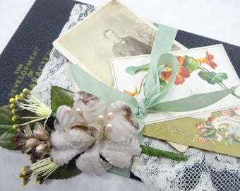 Vintage Little Book Bundle Keepsakes From The Past Display Antique Studio Photograph Millinery Spring Victorian Calling Cards