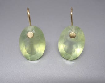 Ring Cut Prehnite // Oval Drops // Light Green Earrings // Solid 14k Gold Earrings