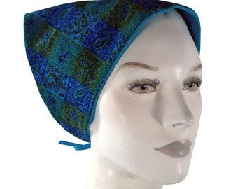 Vintage Psychedelic Paisley Print Corduroy Head Scarf Kerchief, Reversible Blue 70s Headkerchief