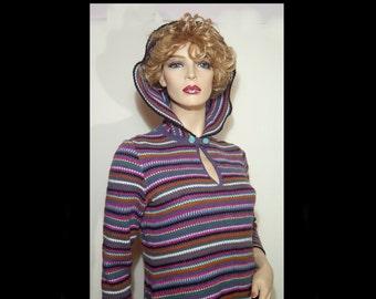 1960s bohemian Orlon virgin wool knit caftan w hood Medium Large ~ flowy hooded hippie sweater dress white aqua rust red black Germany 60s