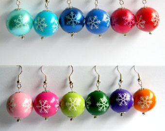 Snowflake Dangle Earrings, Christmas Earrings, Red, Green, Pink, Blue, YOU CHOOSE COLOR, Secret Santa Gift, Stocking Stuffer, Teacher Gift