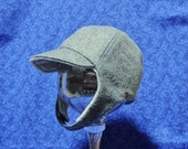 Winter Baby Boy Grey Wool Hat with Chin Straps and Velcro