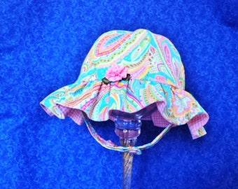 Baby Girl Sunhat Paisley Pink Turquoise Ruffled Chin Straps