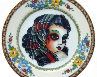 Gypsy, Vintage Tattoo Flash Portrait Plate 6""