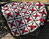 Red Roses Afghan Throw Floral Crocheted Blanket - Made fresh after sale - 25 squares
