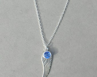 September Birthstone and Angel Wing- Sapphire Swarovski Drop Necklace