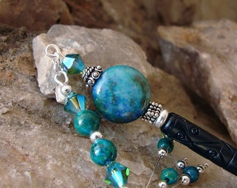 Pre Christmas Sales Event Chrysocolla Gemstones and Crystals Hair Stick - Blue Green with Chrysocolla, Swarovski Crystals Geisha Hair Stick