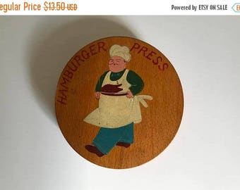 Mid Century 1950's Hand Painted Oak Hamburger Press with Chef Wall Hanging - Vintage Kitchen Decor