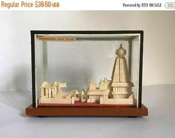Mid Century 1950's Indian Brihadeeswarar Temple in Tanjore Architectural Sculpture Encased in Glass Souvenir