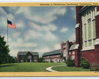 University of Chattanooga Quadrangle Tennessee linen postcard