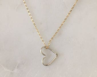 Floating Heart Necklace - Mixed Metal - 14k gold filled - Sterling Silver