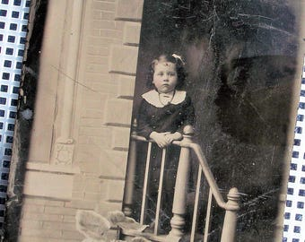 "Tintype - Girl at the Hand Rail 3.5"" x 5"""