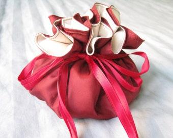 Jewelry Bag, Jewelry Travel Organizer, Burgundy Jewelry Bag, Jewelry Holder, Jewelry Packaging, Drawstring Bag, Gift For Her, Satin Bag