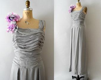 1950s Vintage Dress - 50s Dove Grey Silk Chiffon Emma Domb Gown