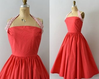 Vintage 1950s Dress - 50s Pink Cotton Halter Neck Sundress