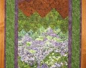 "Mountain Flowers Purple Green Landscape Fabric Wall Hanging Art Quilt 22 x 45"" 100%  cotton fabrics"