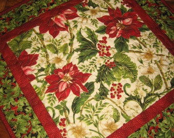 """Christmas Table Topper,  Holiday Poinsettia Holly Berries and Pine Cones, Quilted 21 x 21"""", Reversible Fall"""