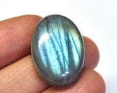 Blue Labradorite, Grooved Oval Cabochon, Natural Gemstone, Macrame Supply Deep Groove - 28.3 x 19.7 x 7.8 mm - 36.8 ct - 161113-01
