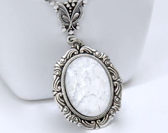White Opal Necklace, Antique Silver, Opal Pendant Necklace, Cameo Necklace, Simple Opal Necklace, Opal Bridal Jewelry, October Birthstone