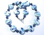 Kazuri Necklace, Blue and White Ceramic Necklace, Statement Necklace, Kazuri Necklace, Fair Trade, Cornflower Blue