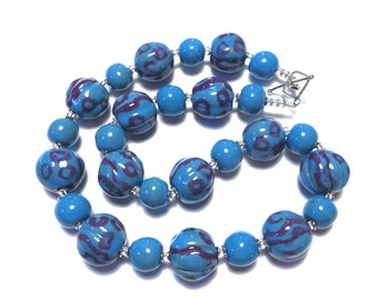 Kazuri Bead Necklace, Fair Trade Beads, Ceramic Necklace, Turquoise and Purple Necklace