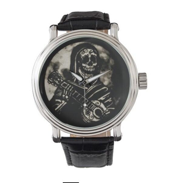 Sugar Skull Guitarist vintage style watch