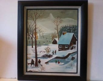 Vintage Canvas Oil Folk Art Painting Winter Scene signed Janos /Hungarian
