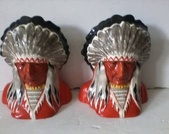 Pair of Antique Art Deco Erphila Native American Chieftains Bookends Czech