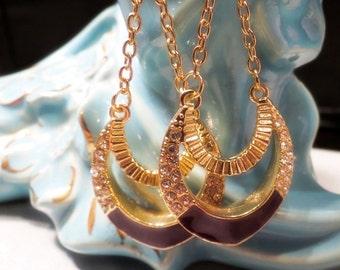 Long Dangle Pierced Earrings with Enamel and Rhinestones Gold Tone Fish Hook