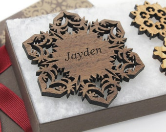 Personalized Ornament - Christmas Snowflake Gift Box Set - Custom Engraved Wood Snowflake - Walnut - Made in the U.S.A.