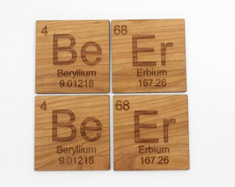 Beer Coasters - Set of 4 - Timber Green Woods - Sustainable Forestry Products Made in the USA! Cherry Wood. Great Gift. Are These Geeky?