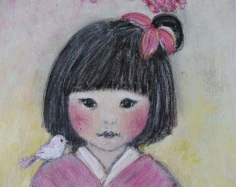 Japanese Girl Cherry Flowers and Birds Cat Kitten Original Painting Acrylic Art Kokeshi