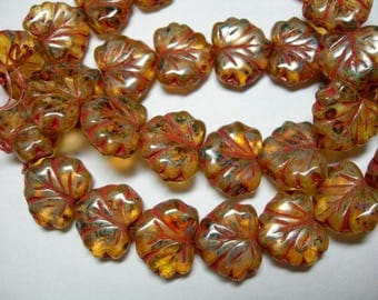 10 beads - Amber Picasso Czech Glass Maple Leaf Beads 11x12mm
