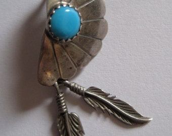Vintage TURQUOISE Native American Silver and Turquoise Feather Stud Earrings 1970s OLD WEST