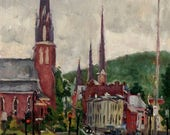 Rain Steeples, St Francis Church, North Adams. Urban Realist Oil Painting on Panel, 14x8  Impressionist Landscape, Signed Original Fine Art