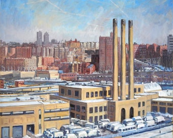 From 215th Street, NYC. Snowy Winter Cityscape Oil Painting on Canvas, 30x30 Urban Industrial Realist New York City Original Landscape