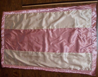 "Rose pink and ivory satin baby blanket 29"" by 47"" child size, custom made, new, ready to ship"