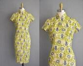 r e s e r v e d...50s cheongsam vintage print dress. 50s dress /  vintage 1950s dress