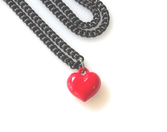 Red Heart Charm necklace, Valentine's Day Gift for Her, Romantic Jewelry